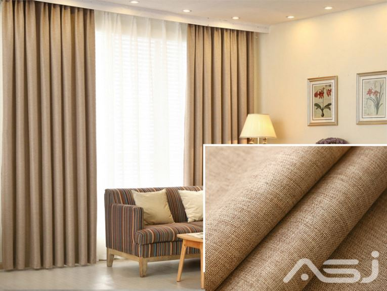1 piece set - extra thickness block out elegant linen curtain - light brown | asj solutions sdn bhd